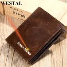 Purse Wallet Card-Holder WESTAL RFID Genuine-Leather Short Men for Credit Designer Luxury