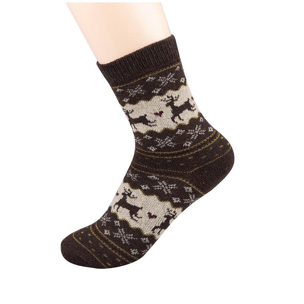 Winter Women Socks Warm Wool Christmas Mid-calf Socks Woolen Snowflake Deer