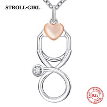 StrollGirl 100% Sterling silver 925 rose gold color love heart stethoscope pendant necklaces sterling jewelry