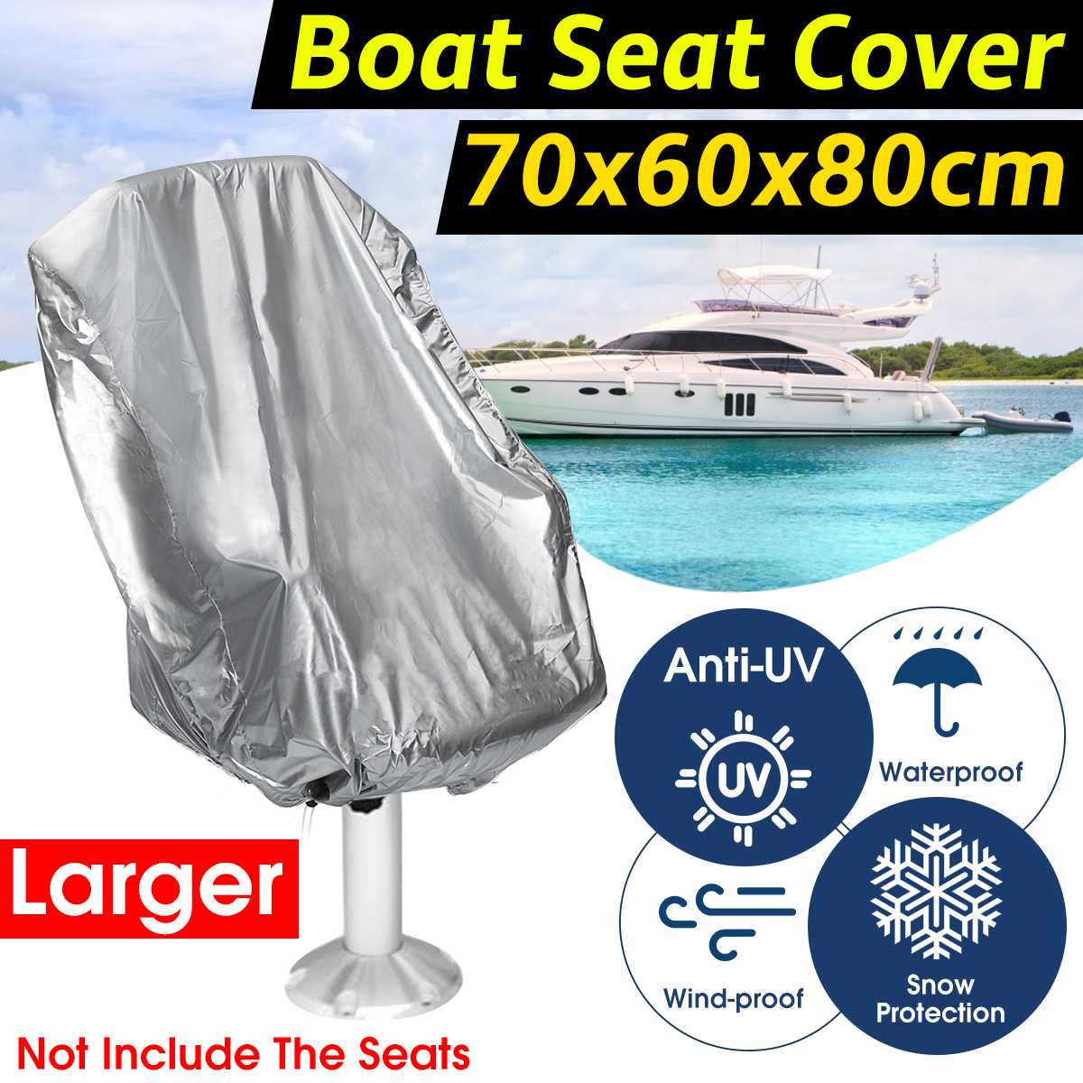 70x60x80cm Large Boat Seat Cover Anti-Dust Waterproof Yacht Seat Cover Elastic Anti-UV Boat Ship Rotate Chair Furniture Cover