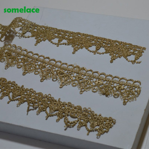 5YDS/LOT 3.5CM~4cm Wedding Dress Fluorescent Lace Applique Gold Thread Wavy-type Venice Lace Accessories Trim 2020606SOMELACE