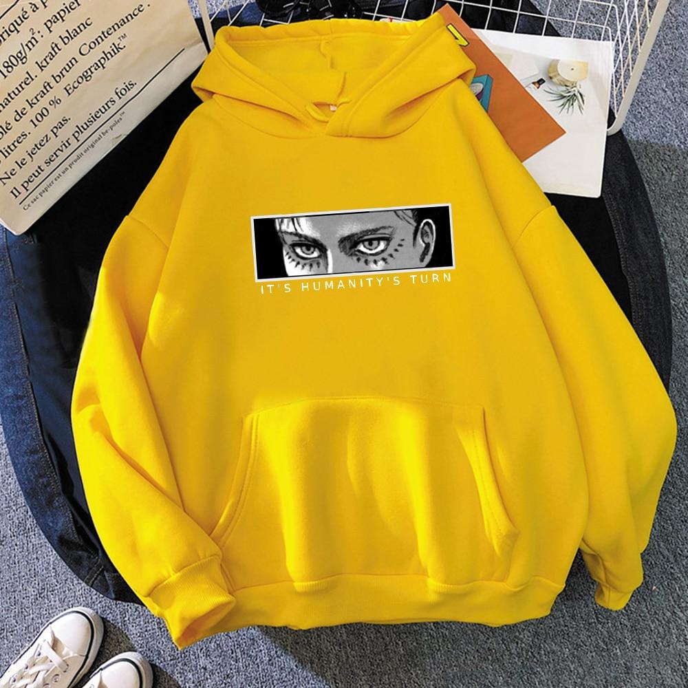 Anime Attack on Titan Hoodie Eren Yeager Print Classic Sweatshirts Funny Cartoon Harajuku Womens Mens Hip Hop Streetwear Jacket 11