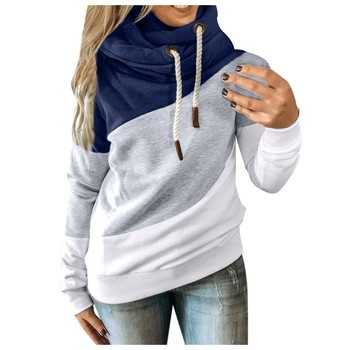 Women Casual Hoodies Leopard Print Contrast Long Sleeve Patchwork Pullover Hoodie Sweatshirt Autumn Winter Thick Warm Tops#T2 1