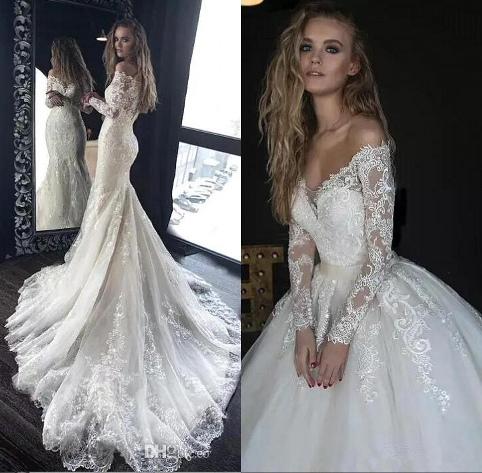 Off The Shoulder Lace Mermaid Wedding Dresses 2020 Long Sleeves Tulle Applique Sweep Train Wedding Bridal Gowns With Detachable Skirt