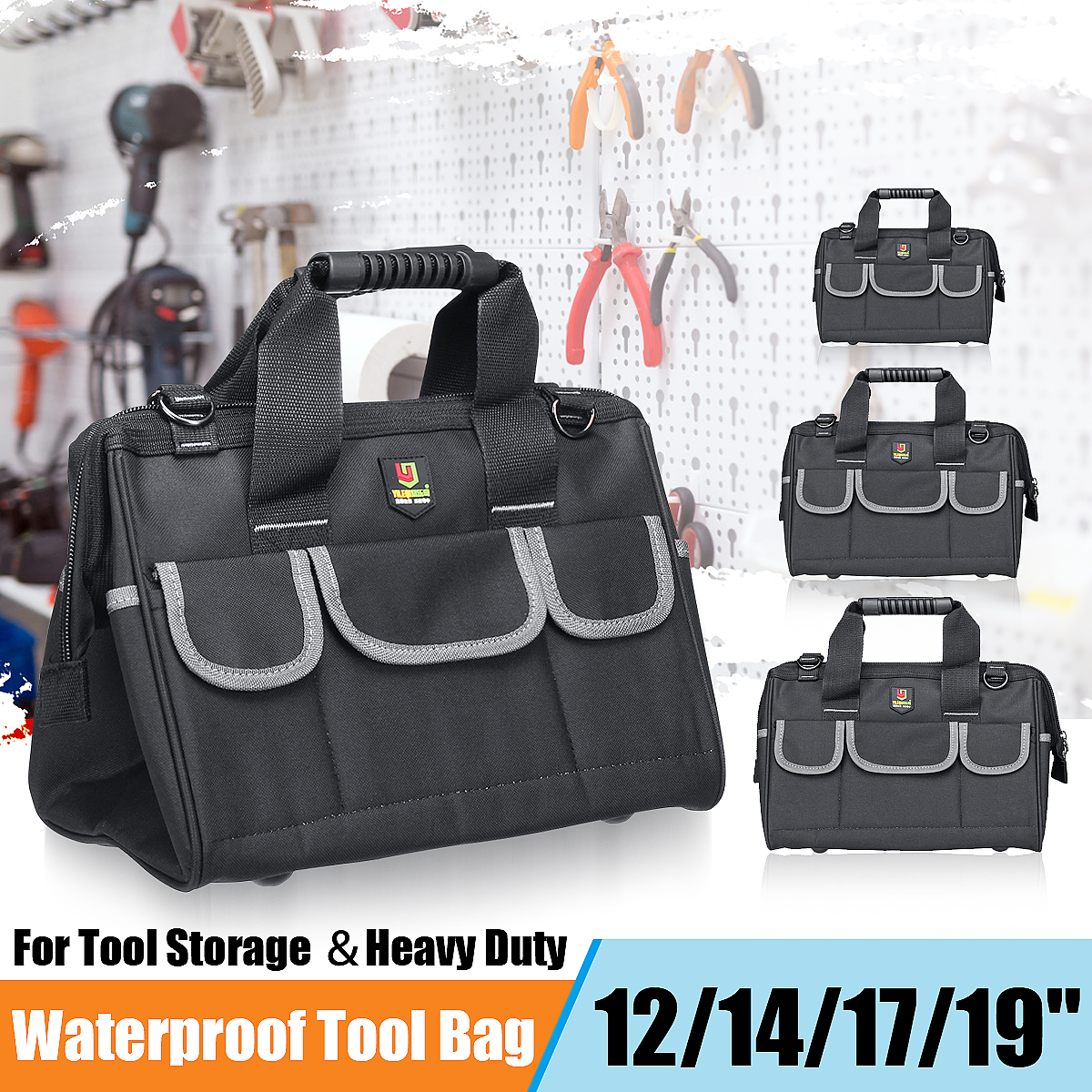 Large Capacity Tool Bag Hardware Organizer Crossbody Belt Men Travel Bags Handbag Backpack Spanner Electrician Carpenter Toolkit