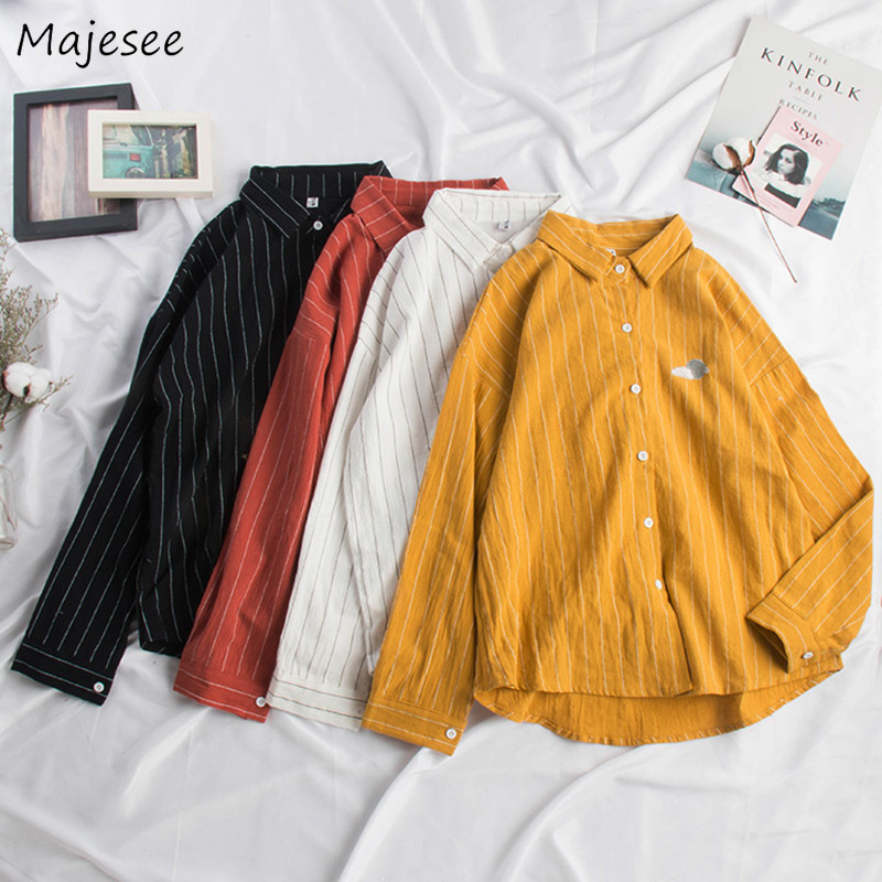 Shirts Women Kawaii Embroidery Striped Simple School All-match Womens Shirt Cute Girls Harajuku Korean Style Loose Ulzzang Daily
