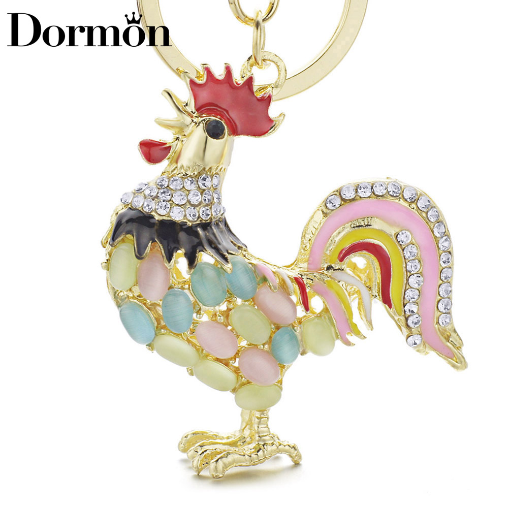 DORMON Alloy Metal Cock Rooster Chicken Keychains Crystal HandBag Pendant Cute Key Holder Ring Chains For Car Women DK131