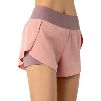 2021 Women Gym podwójne spodenki boczna kieszeń szorty do biegania oddychająca szybkoschnąca joga spodenki damskie trening odzież sportowa Fitness tanie i dobre opinie HAIMAITONG POLIESTER CN (pochodzenie) Shorts Yoga Dobrze pasuje do rozmiaru wybierz swój normalny rozmiar Sukno Stałe