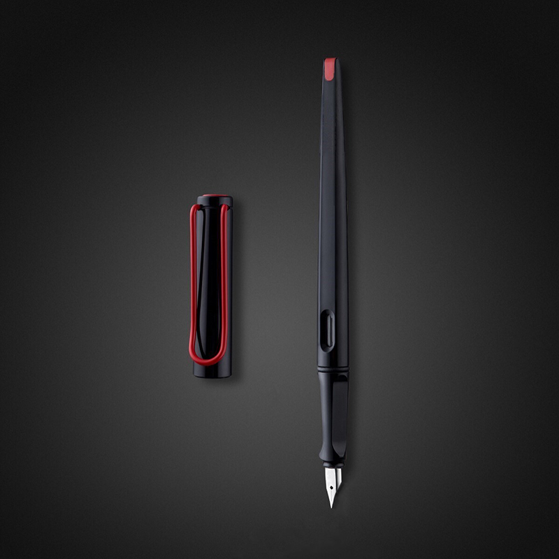 Fashion Black Fountain Pen Red Big Clip Plastic Long Body 0.38mm 0.5mm Joy Ink Pens For Writing Office Supplies Stationery