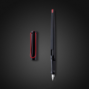 Fashion Black Fountain Pen Red Big Clip Plastic Long Body 0.38mm 0.5mm bent nib Ink Pens for Writing Office Supplies Stationery