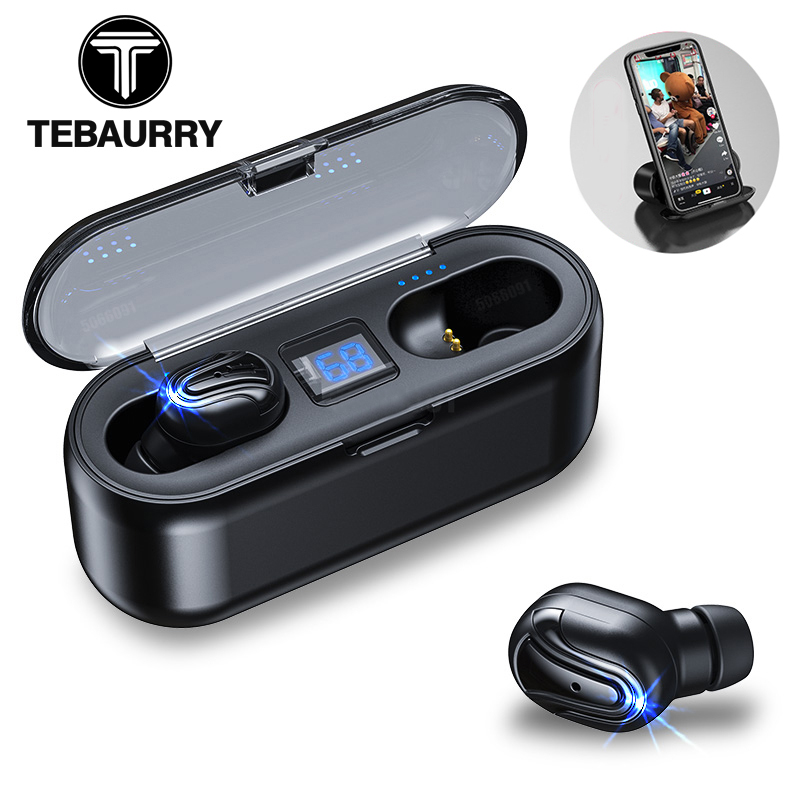 TEBAURRY TWS V5.0 Bluetooth Earphone Wireless Headphones Mini Wireless Earbuds 6D HiFi Stereo Headset  With 3500mAh Power Bank