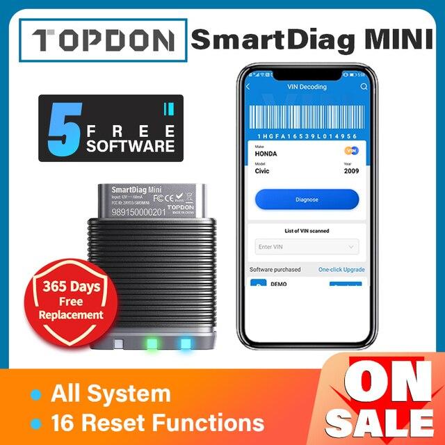 TOPDON SmartDiag מיני Bluetooth 5 משלוח תוכנות רכב אבחון כלי רכב סורק אוטומטי סריקה כל מערכת PK Thinkdiag מיני