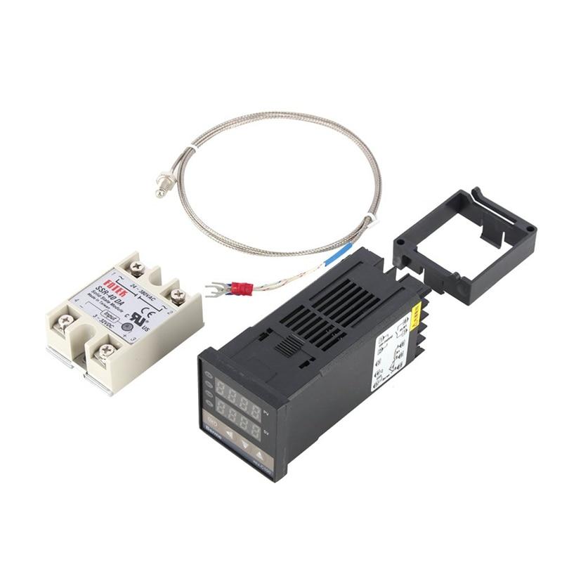 TOP Digital PID Temperature Controller Kit Dual Digital Display REX C100 Thermostat + 40Da SSR Relay+ K Type Probe Sensor