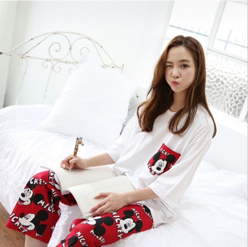 2019 Fashion Lovely Leisure Two Piece Set Mickey Printing Indoor Clothing Home Suit Sleepwear Winter Pajamas Woman Pijama Mujer 32