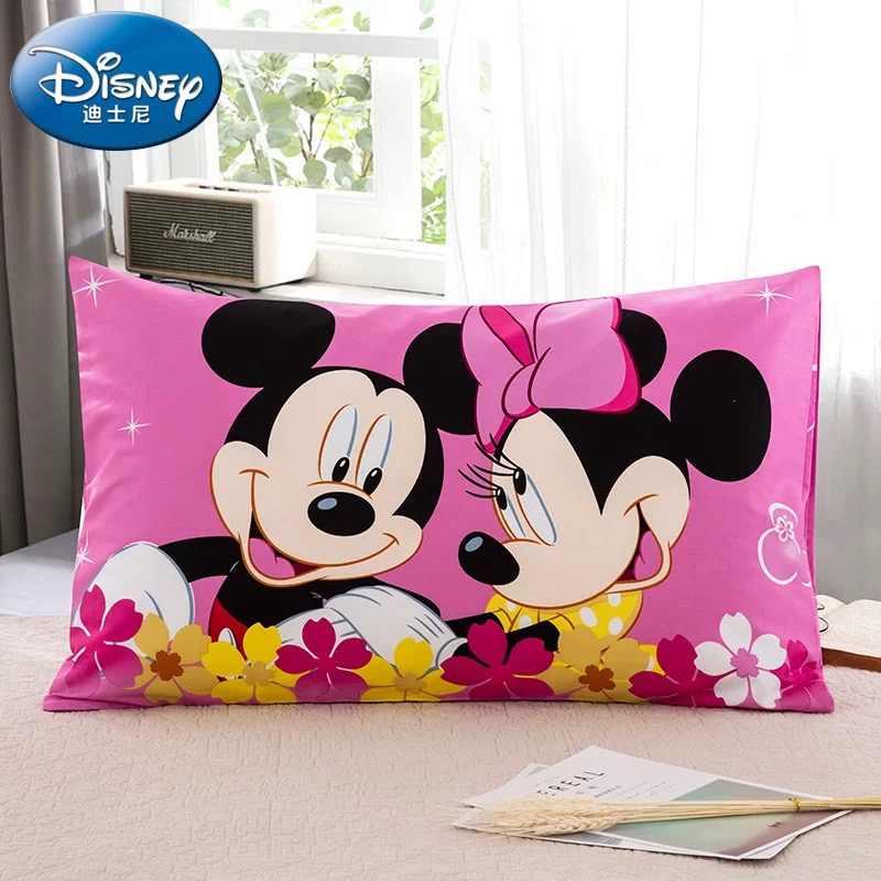 Disney 100% Cotone Cuscino Sham per I Bambini Camera da Letto di Mickey E Minnie Mouse Del Cuscino Della Cassa Covers 3d Stampato Biancheria da Letto Delle Ragazze Letto rosa