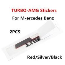 2PCS ABS side label TURBO fender stickers turbocharged BITURBO fender car label body decoration for Mercedes Benz AMG Refit