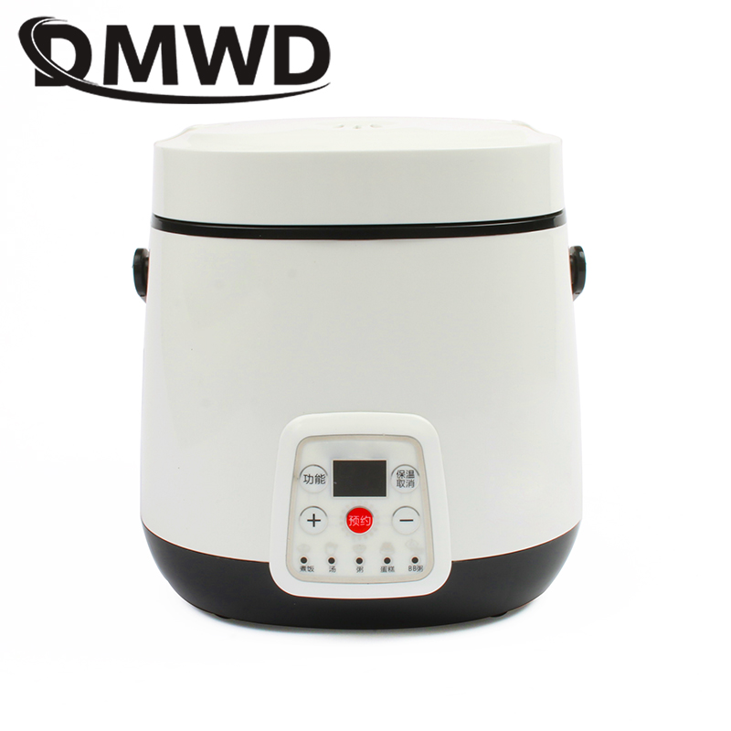 DMWD Mini Rice Cooker Electric Heating Lunch box Stew Soup Noodles Cooking Machine Eggs Steamer Food Lunchbox Cake Maker 1.2L