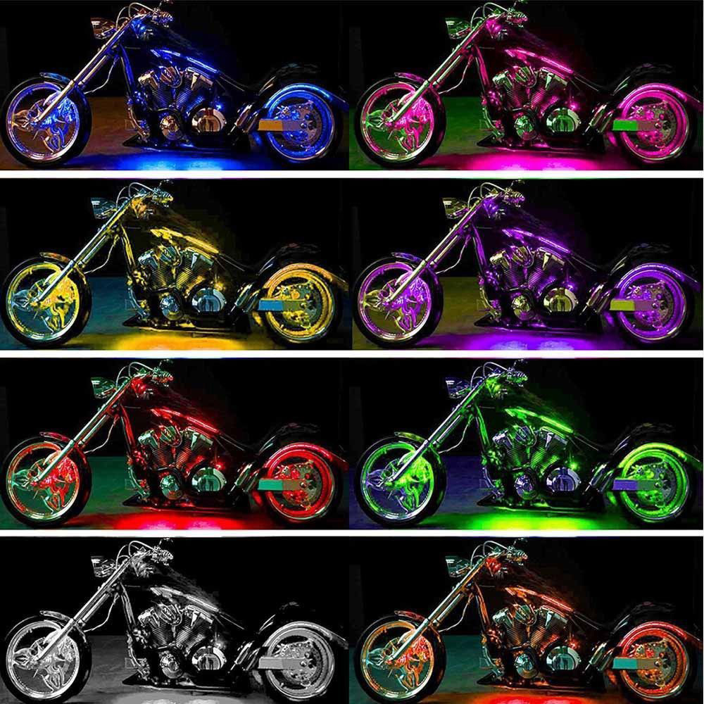 12pcs Motorcycle RGB LED Neon Under Glow Lights Strip 120 LED For Universal
