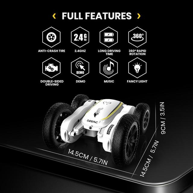 DEERC RC Car 4WD Off Road High Speed RC Crawler Stunt Car Toys For Children Drift Buggy 360° Rotating Flips Vehicles 50 Mins 5