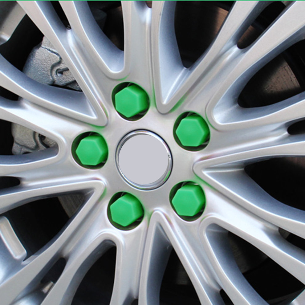 Green 20 Pcs 17/19/21mm <font><b>Silicone</b></font> Hollow Hexagonal <font><b>Wheel</b></font> Hub Screw <font><b>Cover</b></font> <font><b>Car</b></font> Styling Decoration Protecting image