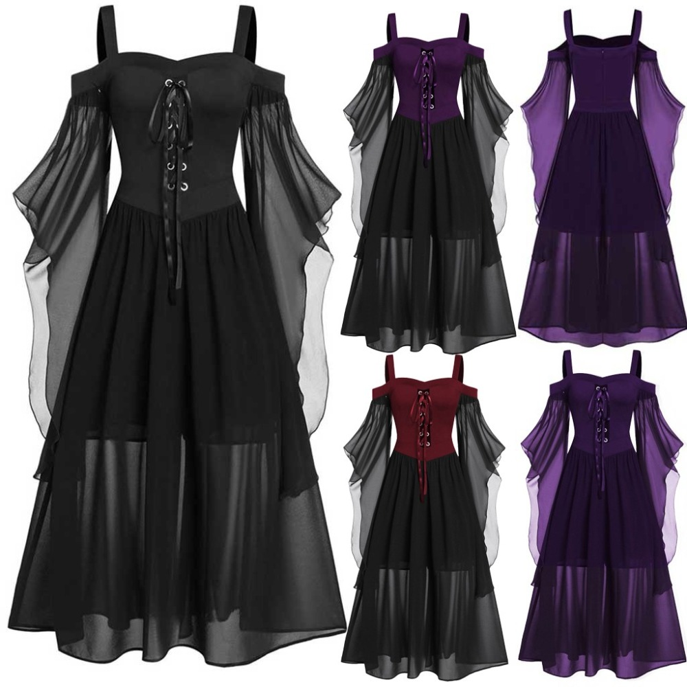 Plus Size Medieval Cosplay Halloween Costumes For Women Carnival Witch Victorian Dress Women Gothic Retro Court Victoria Dress
