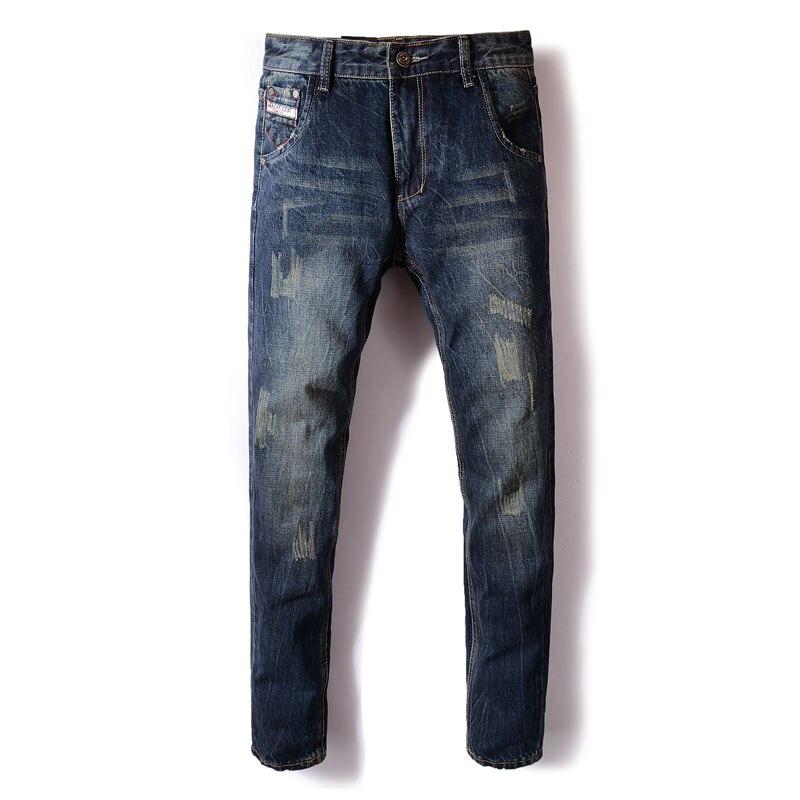 Italian Style Fashion Men Jeans Black Blue Color Embroidery Ripped Jeans Men Classical Denim Pants Vintage Designer Jeans Homme