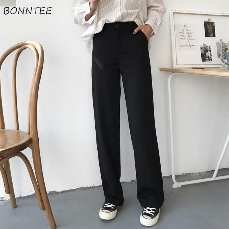 กางเกงหลวมสูงเอวกางเกงสบายๆยาว Trendy All-Match กระเป๋าสตรีเกาหลีสไตล์นักเรียนที่เรียบง่ายฤดูใบไม้ร่วง