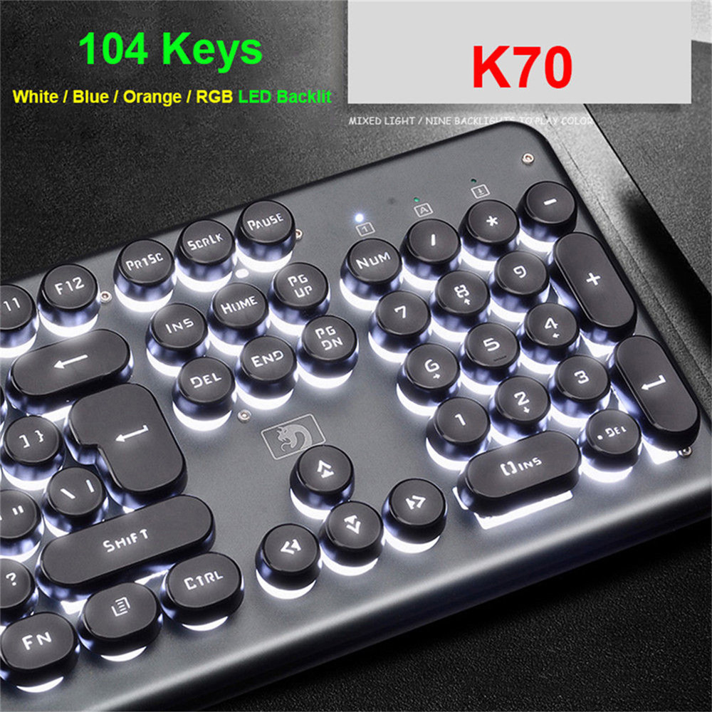 Retro Round Wired Keyboard USB For PC Computer Gaming Wired Punk Keyboard For Laptop Tablet Mouse Keyboards