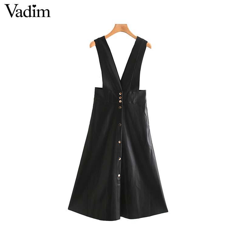 Vadim women chic PU leather midi skirt buttons decorate female basic stylish black A line mid calf skirts mujer BA804Skirts   -