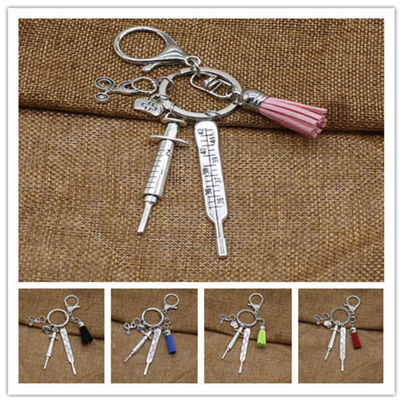 2019 new nurse medical box medical key chain needle syringe stethoscope tassel cute key ring jewelry gift