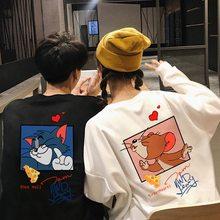 Gato tom jerry mouse bonito casal roupas engraçado dos desenhos animados impresso camiseta masculina/feminina casual 100% algodão kawaii manga longa pulôver