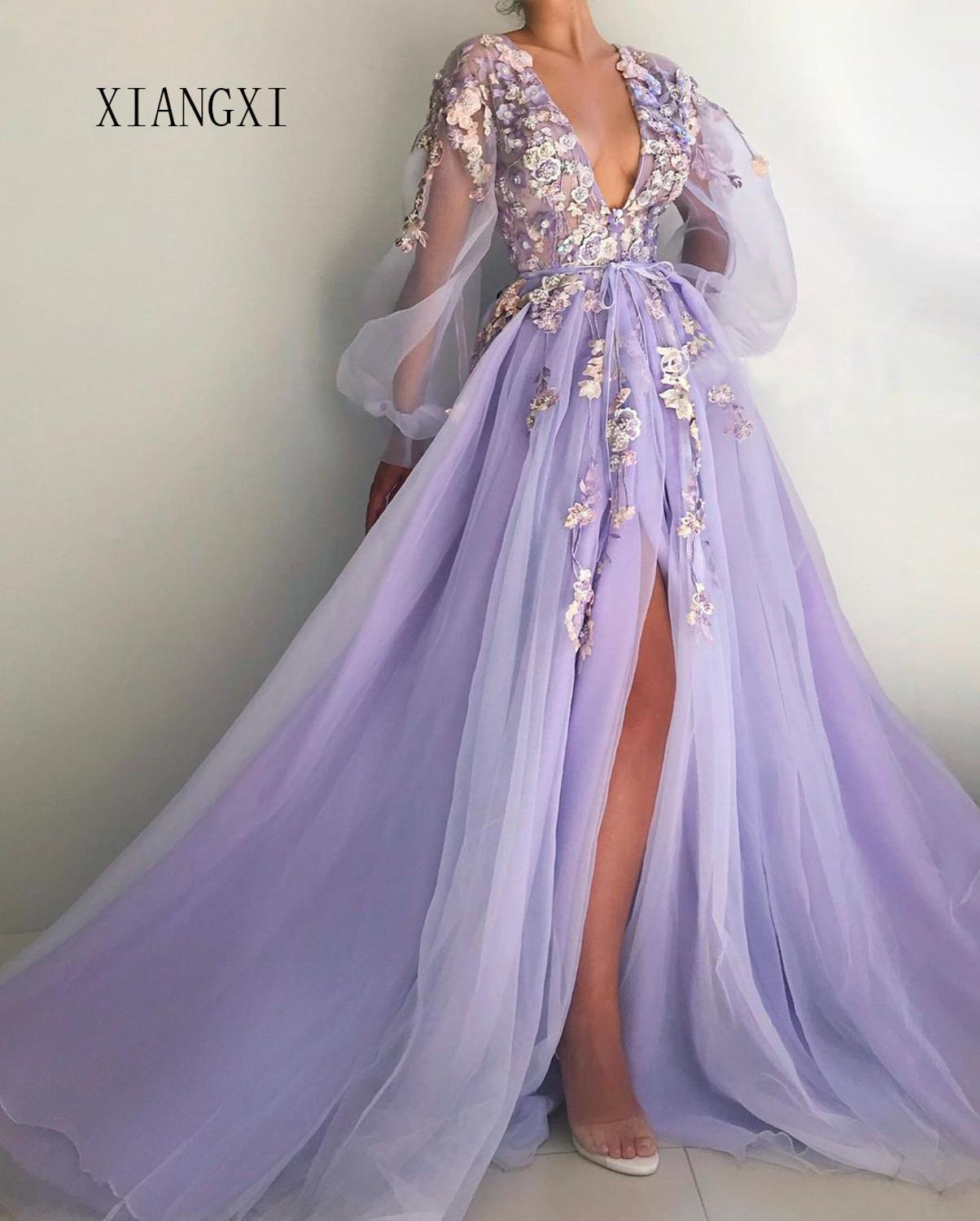 Beautiful Lilac Evening Dress Deep V-Neck Full Sleeves Tulle A-Line Long Evening Dresses Prom Party Gowns Vestido De Festa Longo