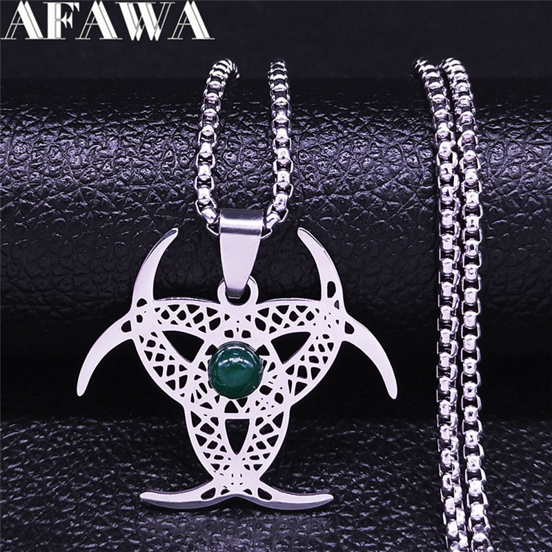 Irish Knot Moon Natural Stone Stainless Steel Necklace Silver Color Statement Necklace Women/Men Jewelry colier homme N4341S02