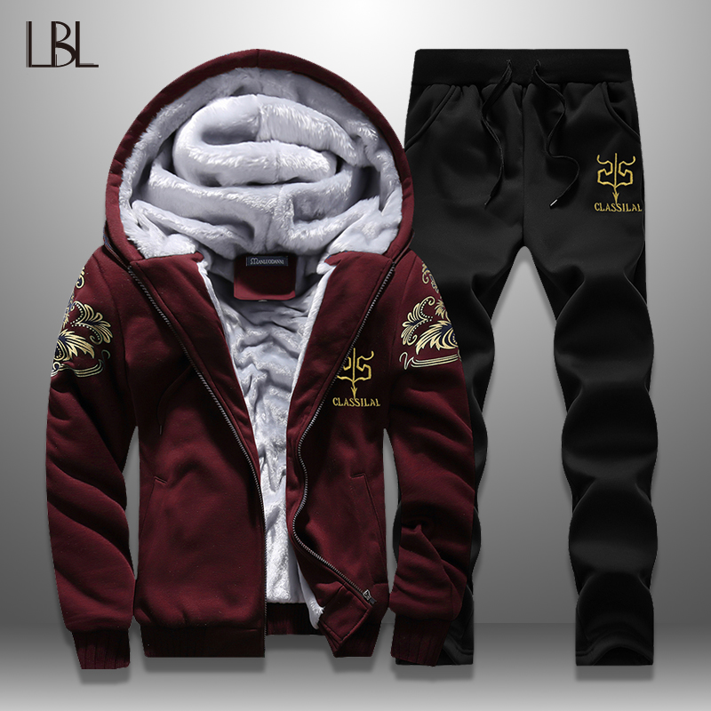 Fleece Tracksuit Men Winter Sportswear Warm Hoodies Set Male New Print Casual Jackets + Sweatpants Mens Sets Moletons Masculino