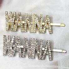 Crystal Word Letter Hair Clips