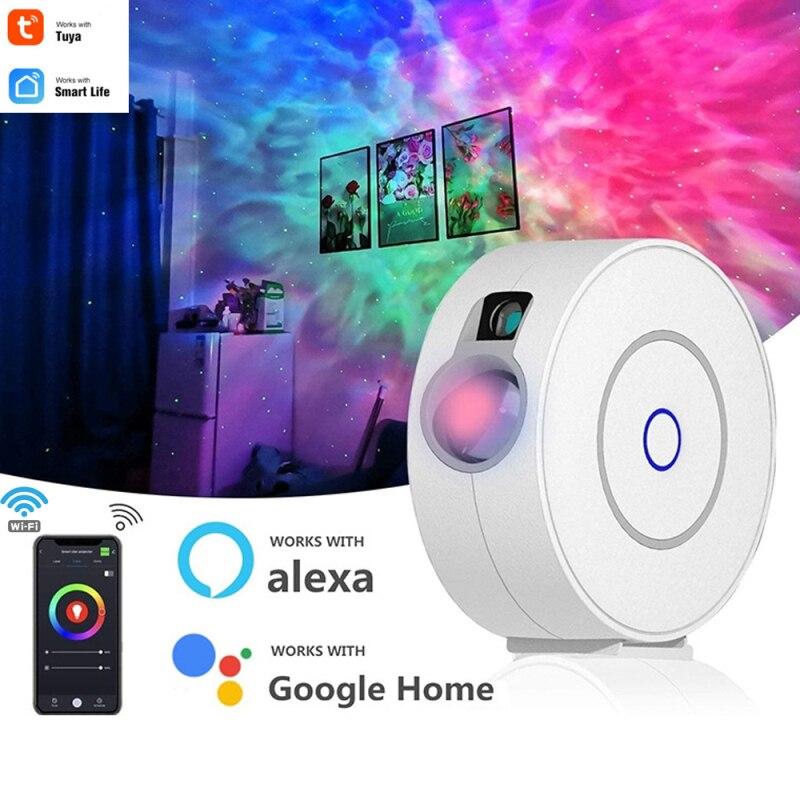 Новый Умный Звездный проектор Tuya/Smart Life, работает с Alexa Google Home, цветной Звездный проектор, освещение для неба, галактики, светодиодный ночник