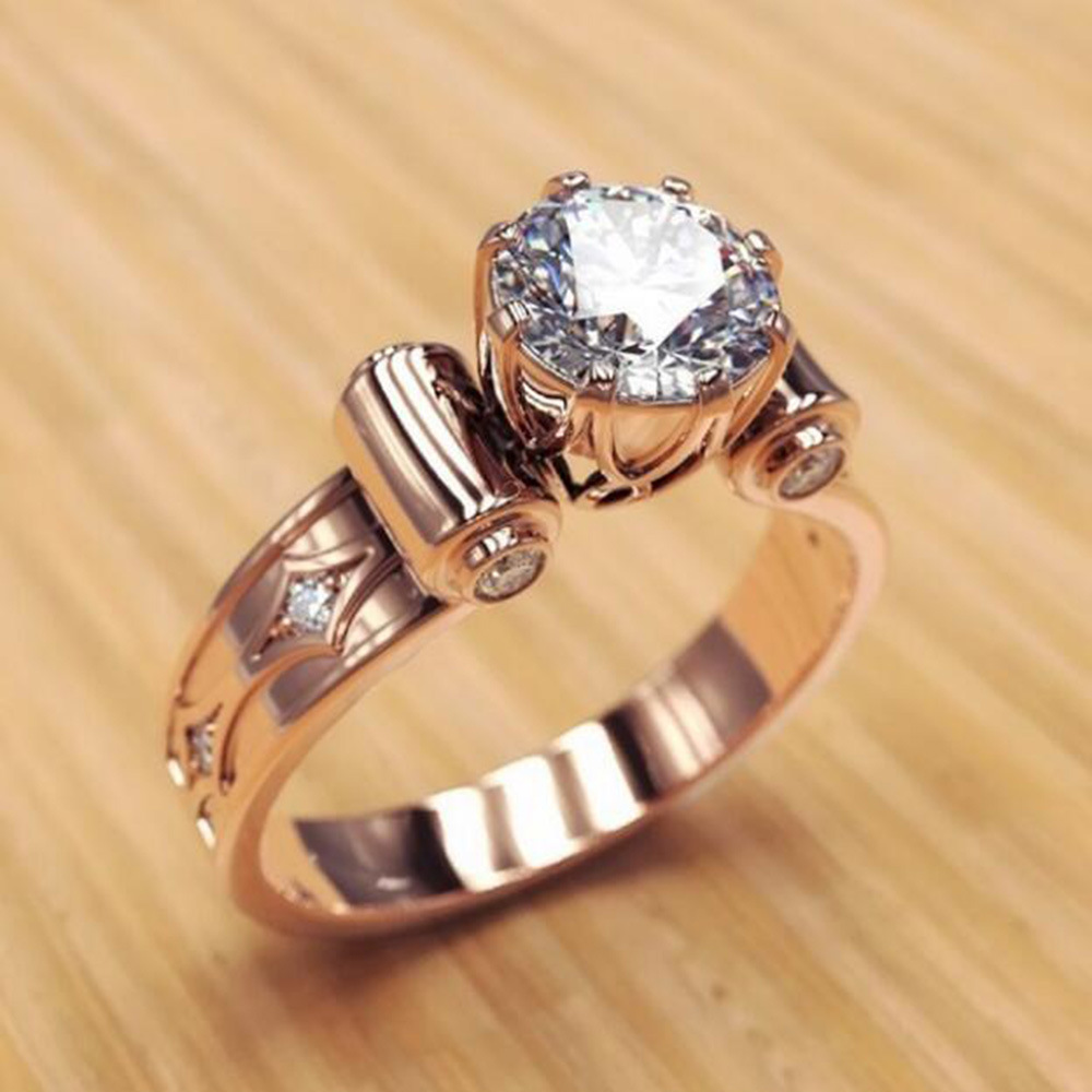 Huitan Rose Gold Women Accessories Wholesale Luxury Rings Attentive Proposal Gift Rings For Girlfriend Rose Gold Series Rings