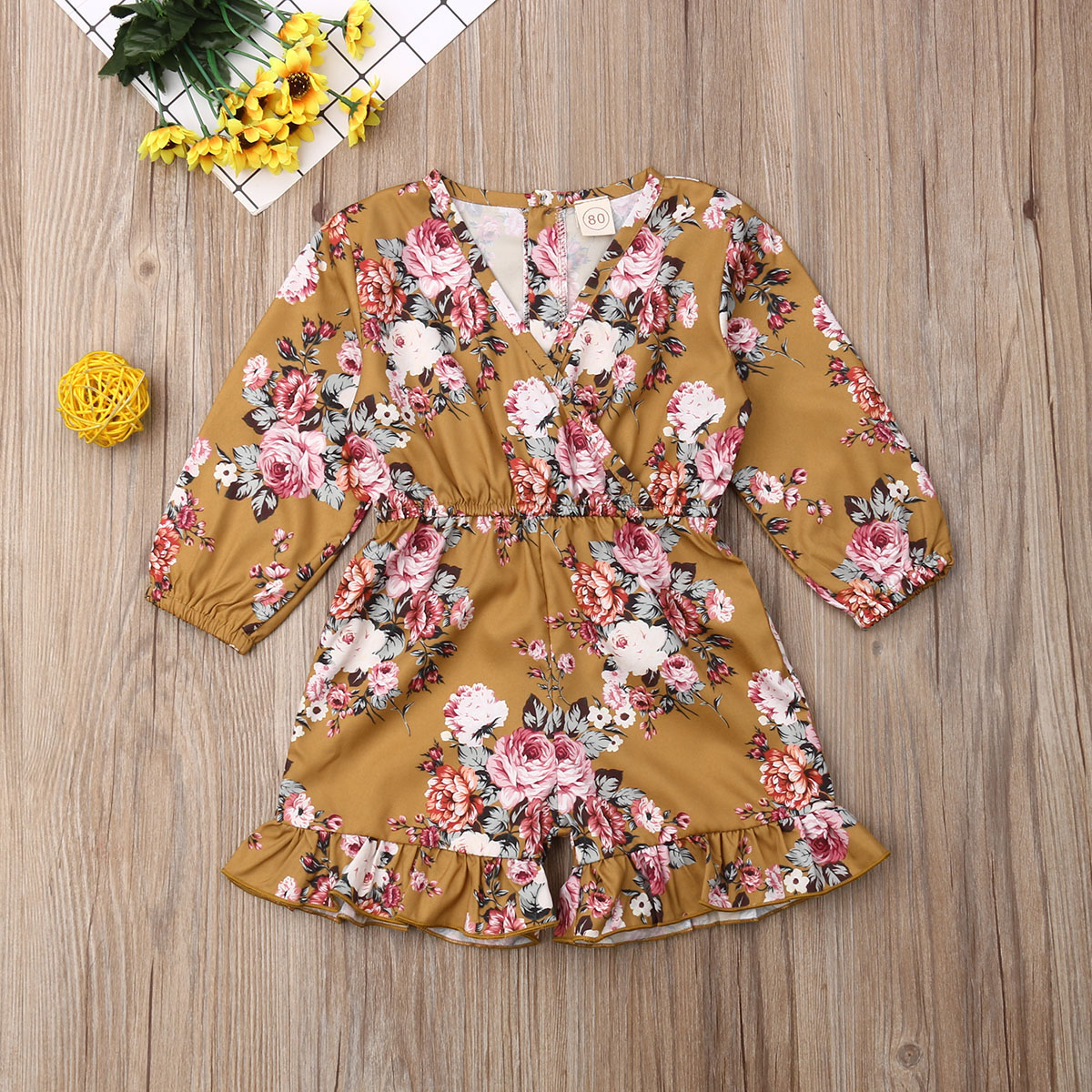 Emmababy Newborn Baby Girl Clothes Flower Print Long Sleeve Ruffle Romper Jumpsuit One-Piece Outfit Sunsuit Clothes Summer