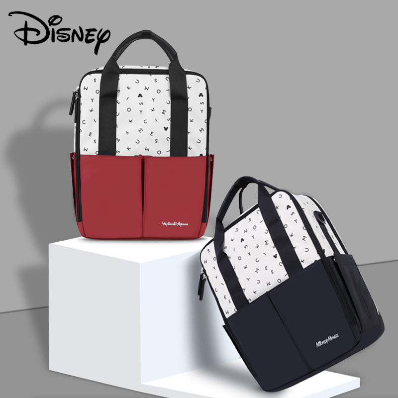 Disney Letter Minnie Mickey Red Black USB Diaper Bag Backpack Waterproof Baby Care/Mummy Bag Maternity Bags Large Nappy Bag