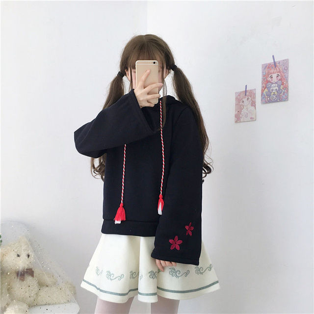 casual girl cute cat hoodies animal hoodies with ears and tail japanese embroidery hoodie oversized hoodie cute sweatshirt girls 6