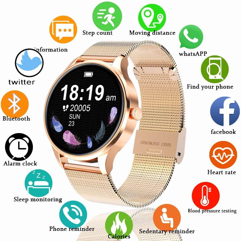 IP68 Водонепроницаемые Смарт-часы для женщин Прекрасный браслет монитор сердечного ритма мониторинг сна Модные Смарт-часы подключение IOS Android