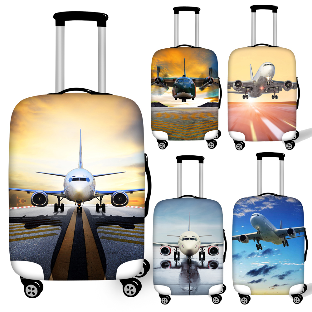 Stylish Airplane Print Travel Luggage Dust Cover Foldable Protective Suitcase Cover For 18''-32'' Trolley Trunk Case Waterproof
