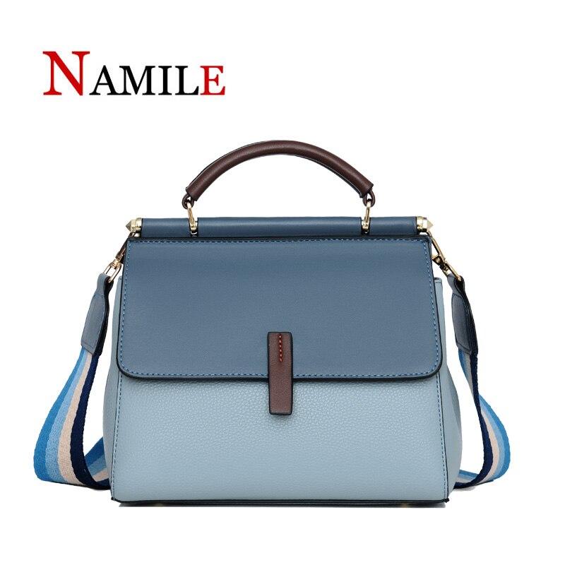 NAMILE Genuine Leather Luxury Handbags Women Bags Designer Large Capacity Female Messenger Bag Patchwork Shoulder Bag