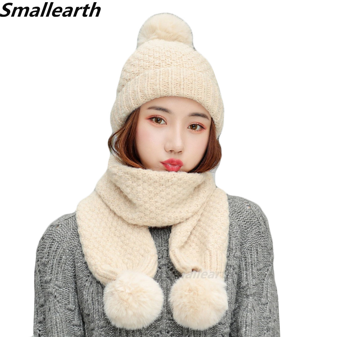 2019 Winter Women Knitted Hat Scarf 2Pcs Set Female Plus Velvet Thickening Windproof Caps Long Scarf Set Girls Casual Snow Caps