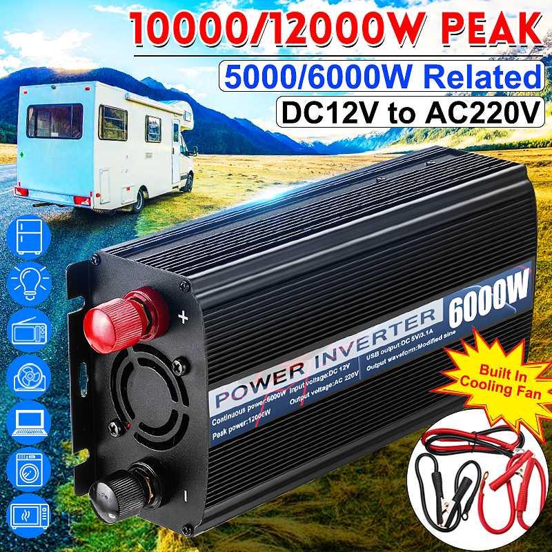 Inverter Dual USB 12000 W/10000 W DC 12V bis AC 220V Auto Power Inverter Ladegerät Converter adapter Modifizierte Sinus Welle Transformator