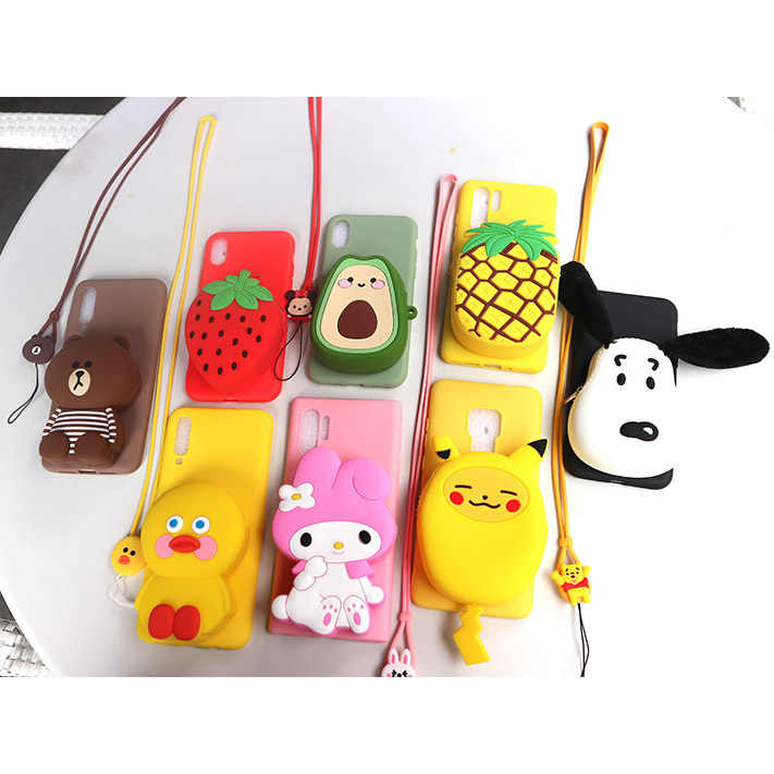 Case for Huawei P10 Plus P20 P30 Soft Silicone Cover for Huawei Mate 9 10 Lite 20 Pro 20 X Cute Cartoon 3D Bear Wallet Phone