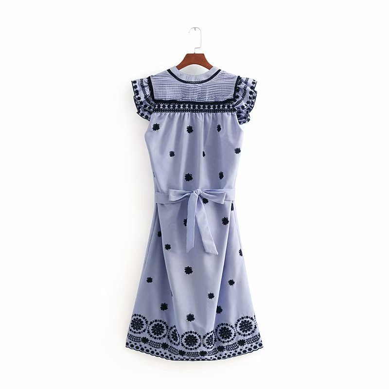 2018 Spring And Summer Europe And America Women's Dress Embroidered Stripes Flounced Dress Short Skirt 8763