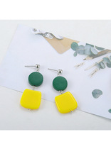 Long Yellow Square Earrings with Crystal Rhinestone Korean Vintage Blue Studs for Womens Christmas