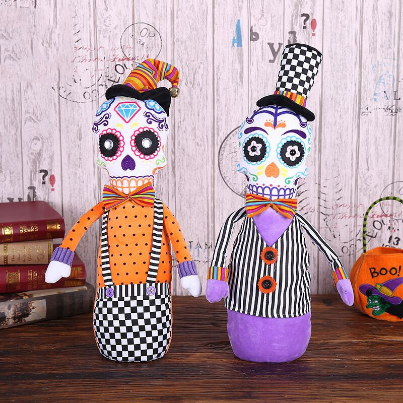 Halloween Event Decoration Doll Toy Filling Cotton Sitting Skull Cloth Dolls Toy Props Halloween Festival Party Decora Supplies