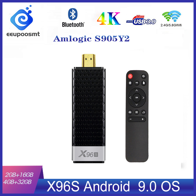 X96S TV Stick 4GB 32GB Amlogic S905Y2 Android 9.0 TV Box X96S Mini PC 5G WiFi Bluetooth 4.2 4K HD 1080P TV Dongle Media Player